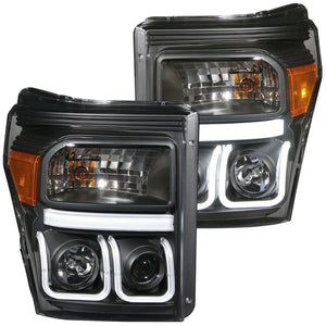 ANZO U-Bar Projector Headlights (Black/Clear) Ford 2011-2016 F250 & F350