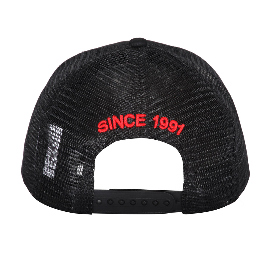 BLACK RED MESH CAP