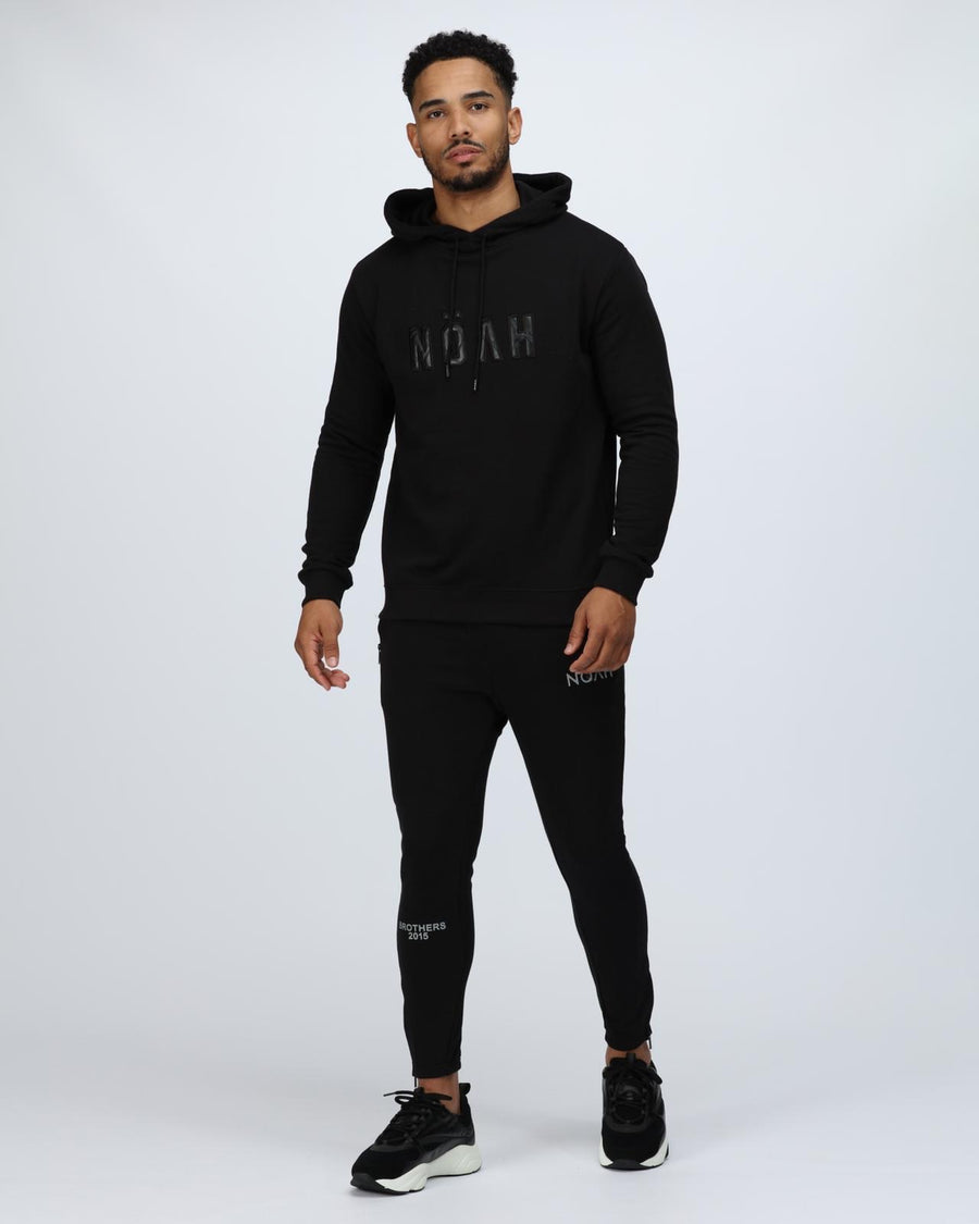 BLACK LEATHER LOGO TRACKSUIT