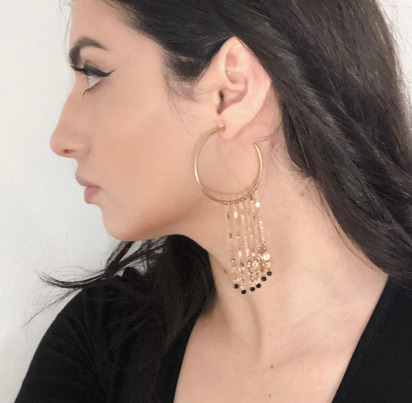 Holly Hoop Dangle Earrings