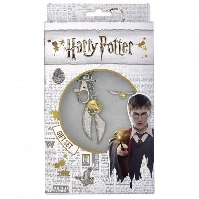Harry Potter Golden Snitch Keyring & Pin Badge Gift Set-Poptastic Weston Super mare