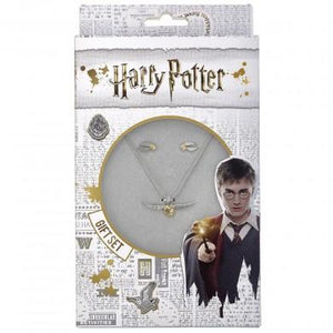 Harry Potter Golden Snitch Necklace & Stud Earrings Gift Set, Poptastic,