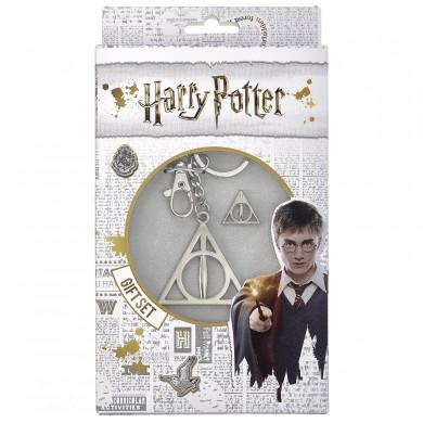 Harry Potter Deathly Hallows Key ring & Pin Badge  Gift Set