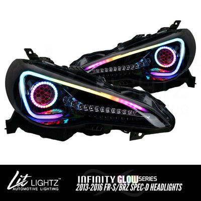 2013-2016 Scion FR-S/BRZ Spec-D Headlights (Infinity Glow™ Series) Pre-Built Headlights Lit Lightz