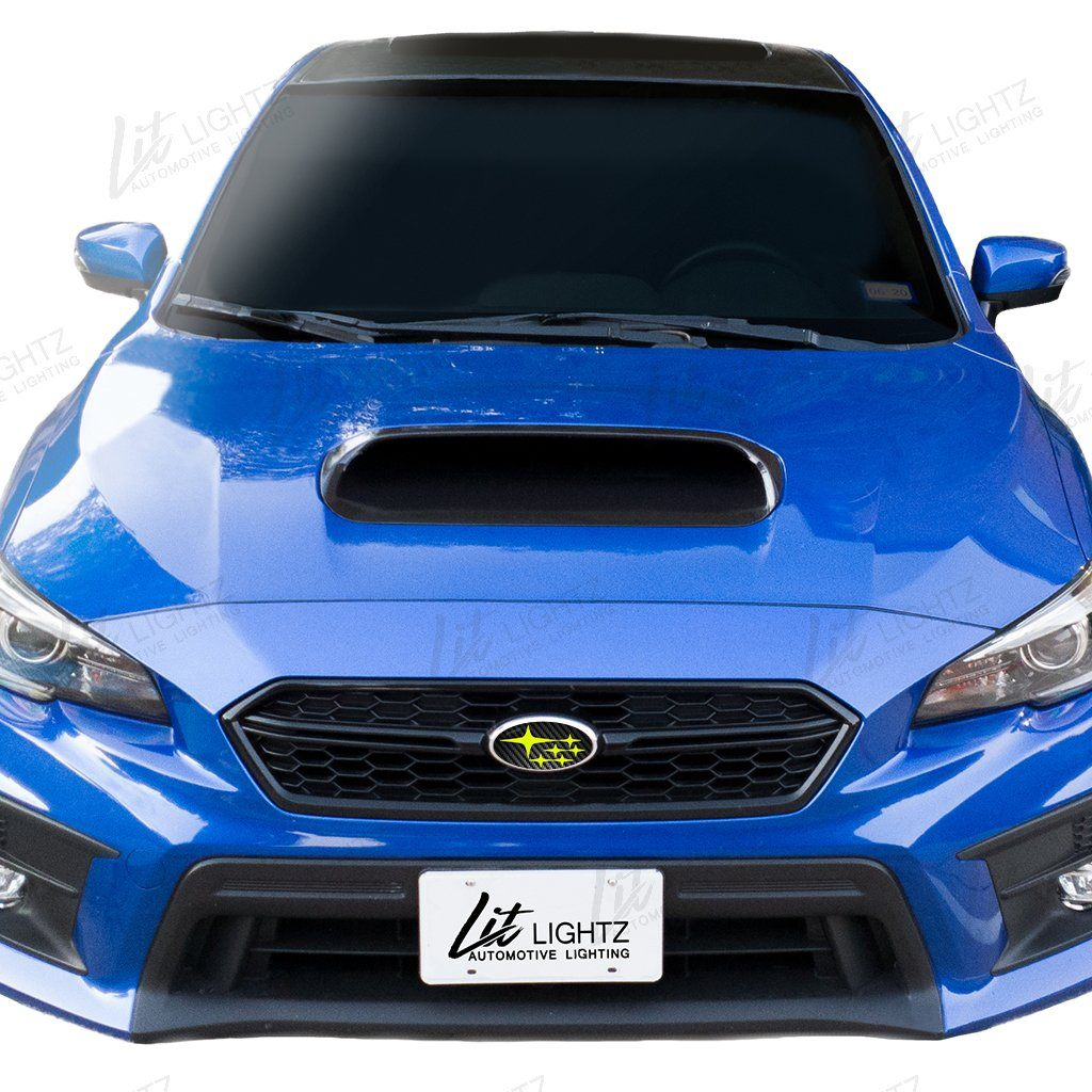 2015+ WRX/STi Front & Rear Subaru Logo Emblem Vinyl Overlay (Carbon Fiber Background) Lit Lightz