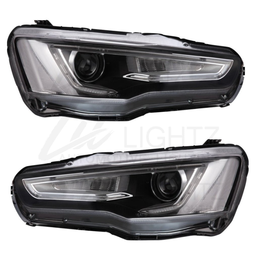 2008-2017 Mitsubishi Lancer/Evo X Vland Headlights Audi Style (Color Changing) Pre-Built Headlights Lit Lightz