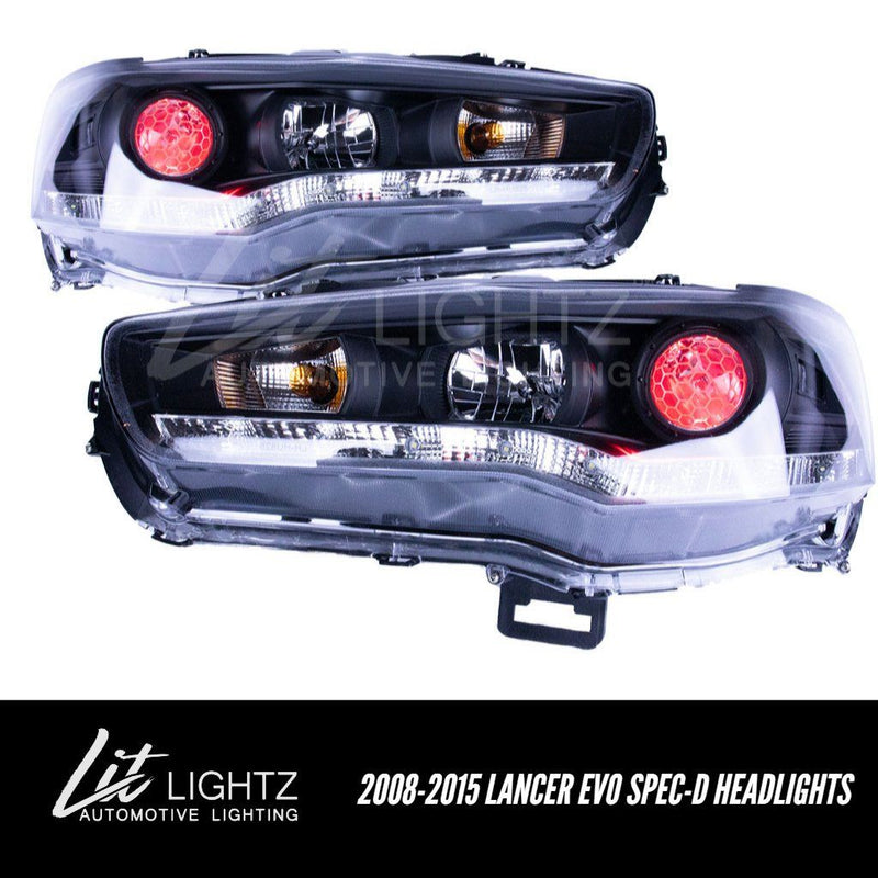 2008-2015 Mitsubishi Lancer/EVO X Spec-D Headlights (Custom) Pre-Built Headlights Lit Lightz