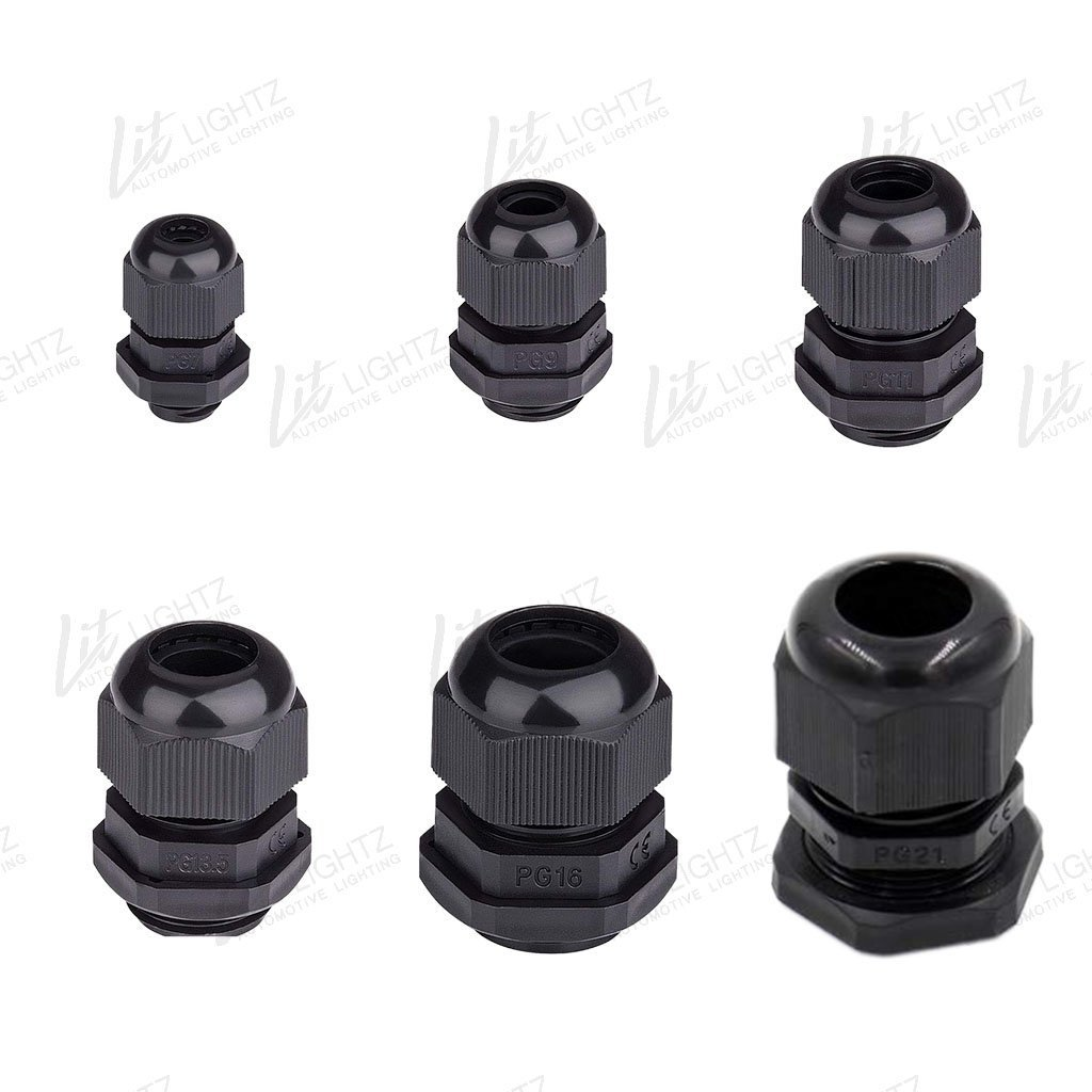 2X Nylon Cable Gland With Adjustable Lock Nut (Pair) - LitLightz.com