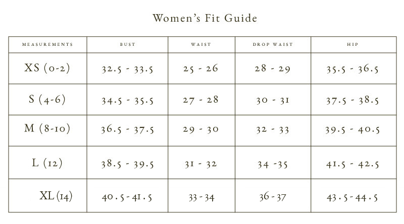 Raven + Lily Women's Fit Guide for Sizing Reference