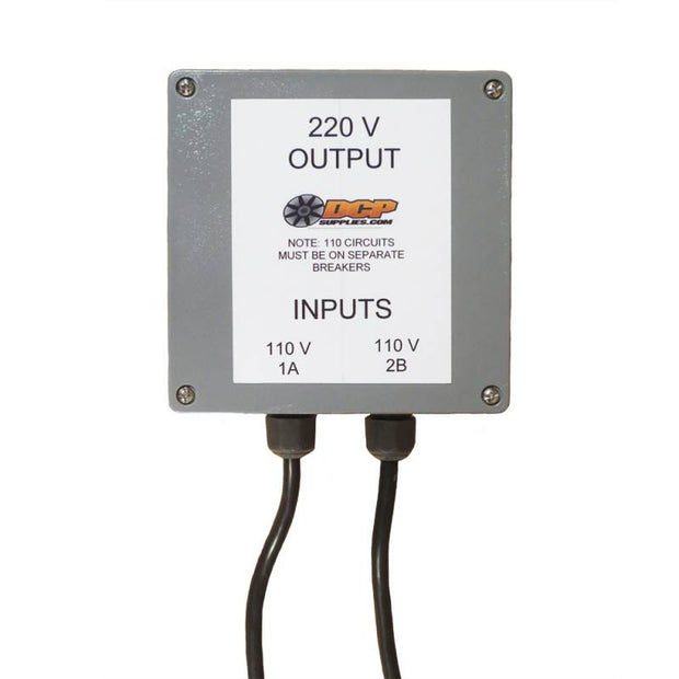 The DCP Converter Box turns two 110V inputs into one 220V output. Ideal for job settings that do not have a 220V outlet to run an electric concrete grinder. s