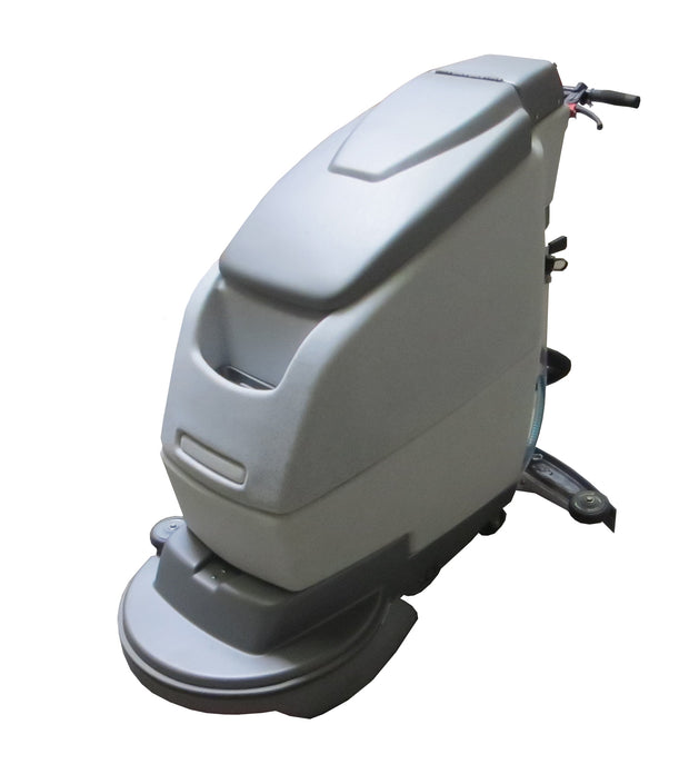 "The battery powered 20"" walk behind automatic floor scrubber has a compact design ideal for small floor areas but powerful enough for large floors as well."