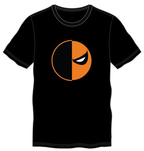 DC Comics Deathstroke Slade Joseph Wilson Orange And Black Mask Men's Black T-Shirt Tee Shirt