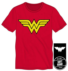 DC Comics Wonder Woman Logo Specialty Soft Hand Print Men's Red T-Shirt