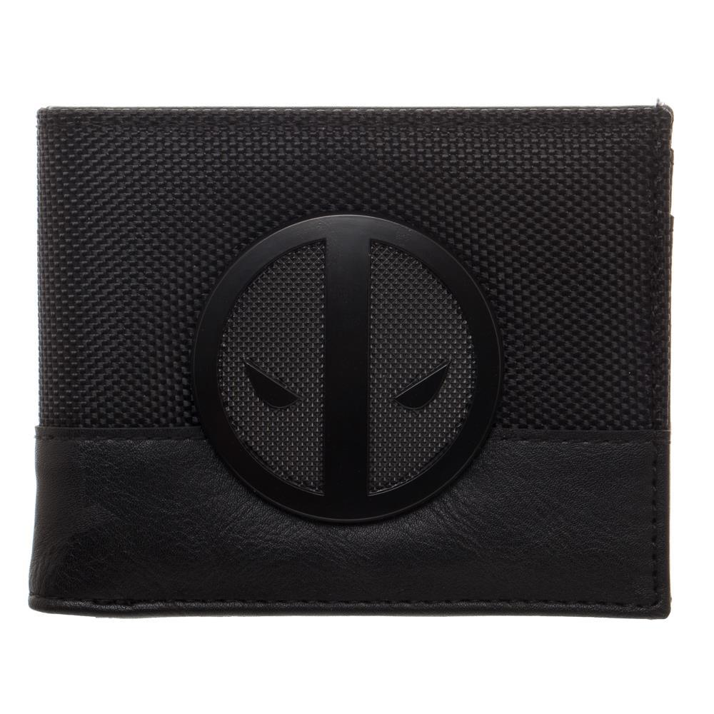 Marvel Deadpool X-Force Insignia Bi-Fold Wallet, Faux Leather Detail in Grey and Black, Multi-Functional
