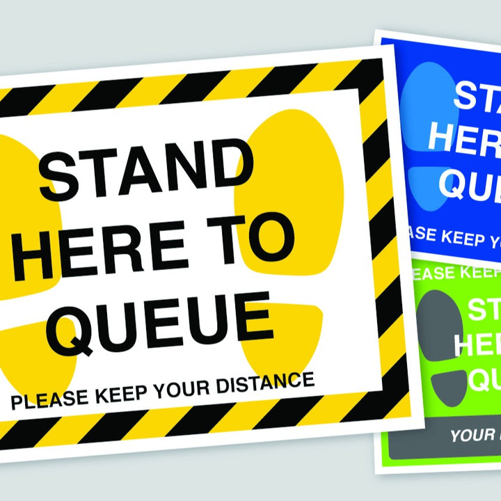 Queue Here Social Distancing Stickers