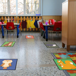 Social Distancing Mats for Education - Animal Scatter Mats