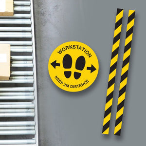 Workstation Floor Sticker Set - Floor Graphics to Clearly Mark Work Areas