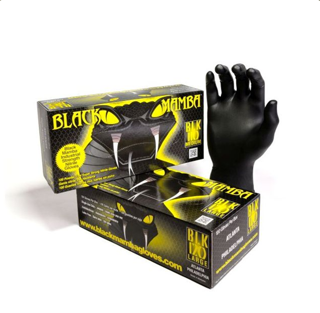 Super Tough Black Nitrile Gloves - Boxed in 100's