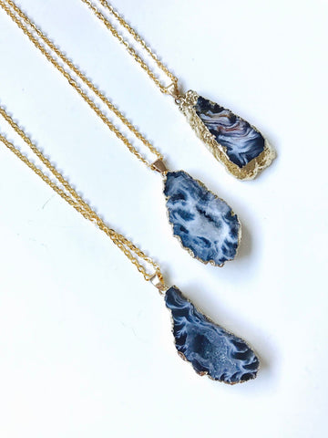 Agate Geode Druzy Slice Necklace, 18K Gold