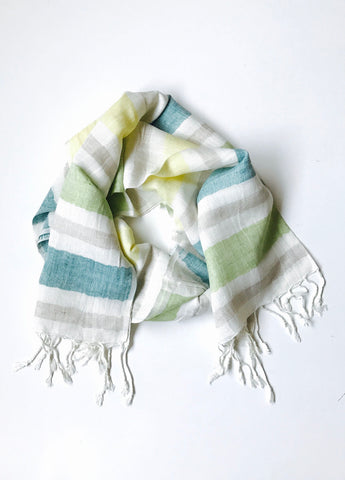 Linen Color Block Scarf Shawl with Fringe
