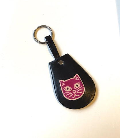 Black Cat Authentic Cruelty Free Leather Keychain with Ring