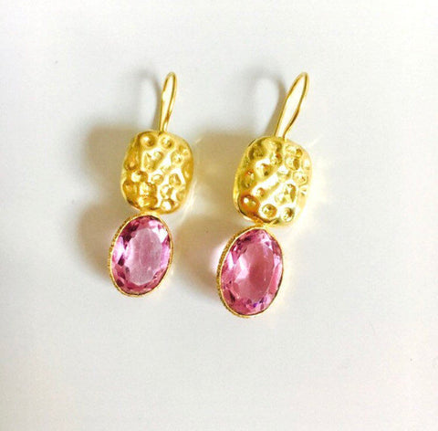Pink CZ Hammered Gold Drop Earrings, Fair Trade