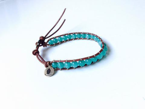Amazonite Bead Braided Leather Cuff Bracelet