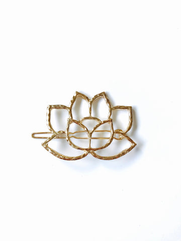 Sacred Lotus Hair Pin Clip Barrette, 14K Gold