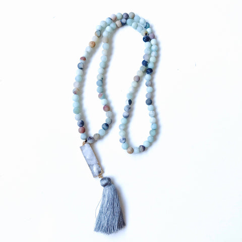 Amazonite Mala Bead & Druzy Crystal Stone Silk Tassel Necklace