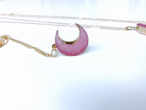 Pink Druzy Crystal Crescent Moon Pendant 18K Gold Necklace