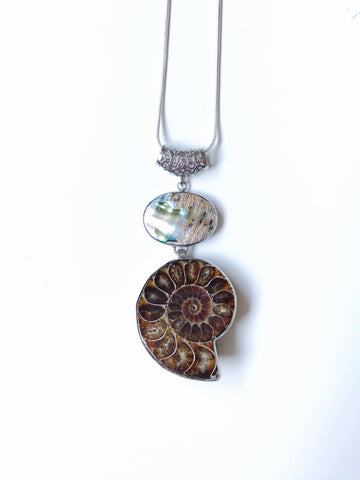 Sea Ammonite & Abalone Shell Necklace Sterling Silver 925 Stamped