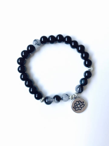 Black Onyx Mala Bead Bracelet with Sacred Lotus Flower Charm