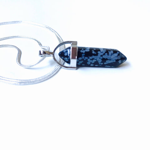 Snowflake Obsidian Pendant Necklace, Sterling Silver 925 Stamped