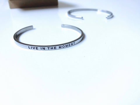 Live in the Moment Stainless Steel Mantra Bracelet