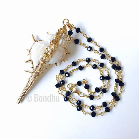 Conch Shell 24K Gold Dipped Statement Necklace with Beaded Rosary Chain