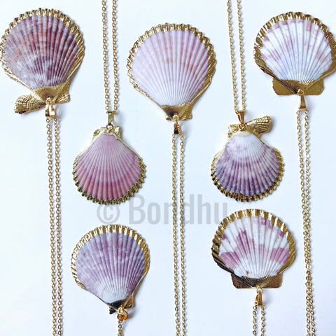 Scallop Shell Raspberry Statement Necklace, 24K Gold Dipped with Chain