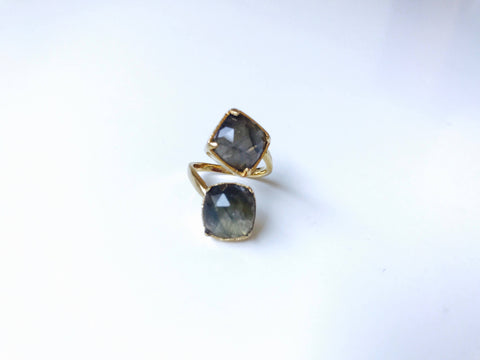 Labradorite Multifacted Double Stone Ring, 24K Gold