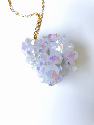 Angel Aura Crystal Quartz Chunk, 14K Gold Statement Necklace