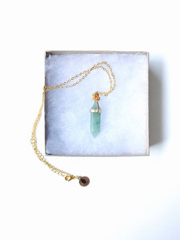 Aventurine Multi Faceted Pendant Necklace, 18K Gold Chain
