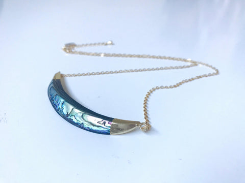Abalone Shell Horn Pendant 18K Gold Necklace