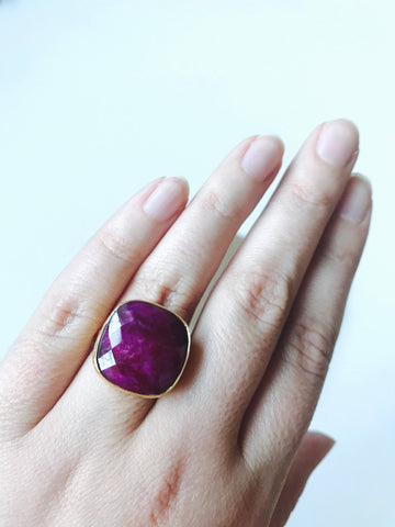 Natural Ruby Multifaceted Statement Ring, 14K Gold