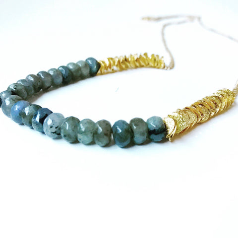 Labradorite Rondelle Beads & Gold Ruffle Washers, 24K Gold Necklace