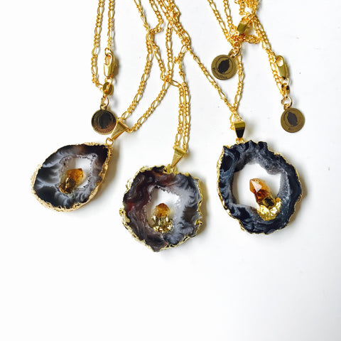 Natural Agate Geode Druzy Crystal Slice with Gold Citrine Nugget, 18K Gold Statement Necklace
