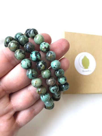 African Turquoise Stone Mala Bead Bracelet, with Cloth Pouch