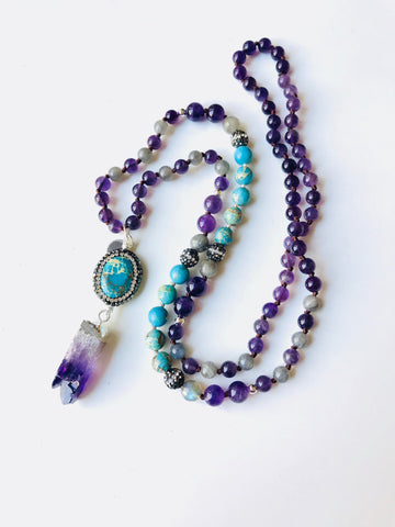 Purple Amethyst, Labradorite, Turquoise Howlite Mala Bead Necklace with Amethyst Chunk Shard and Sterling Silver