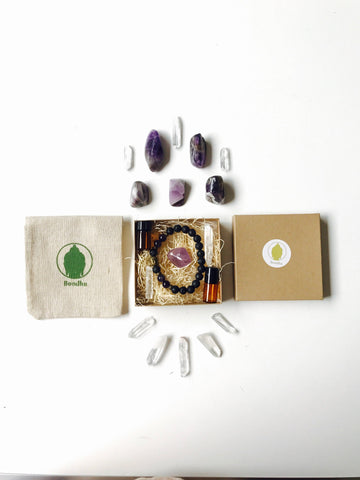 Aromatherapy Gift Box Set with Black Lava Stone Mala Bead Bracelet with Amethyst and Buddha, Crystals, Organic Lavender dropper and roller