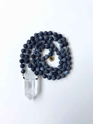 Black Fire Dragon Vein Crackle Agate Mala bead Necklace with Large Crystal Quartz Chunky Shard