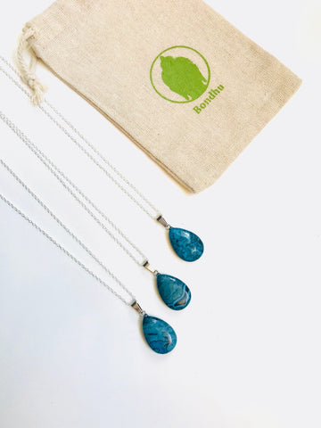 Blue Jasper Natural Stone Teardrop Pendant Necklace with 925 Sterling Silver Figaro Chain