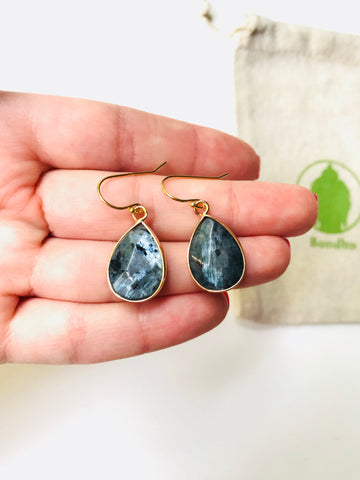 Blue Labradorite Multifaceted TearDrop Gold Hook Earrings