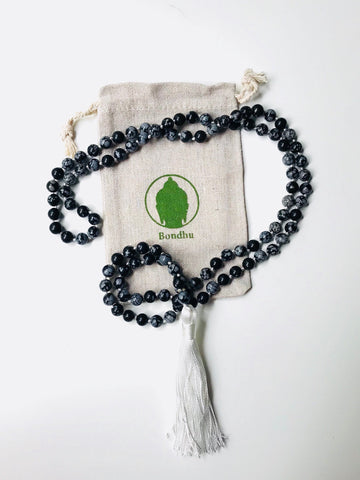 Snowflake Obsidian Black & White Natural Stone Mala Beads Necklace with Tassel
